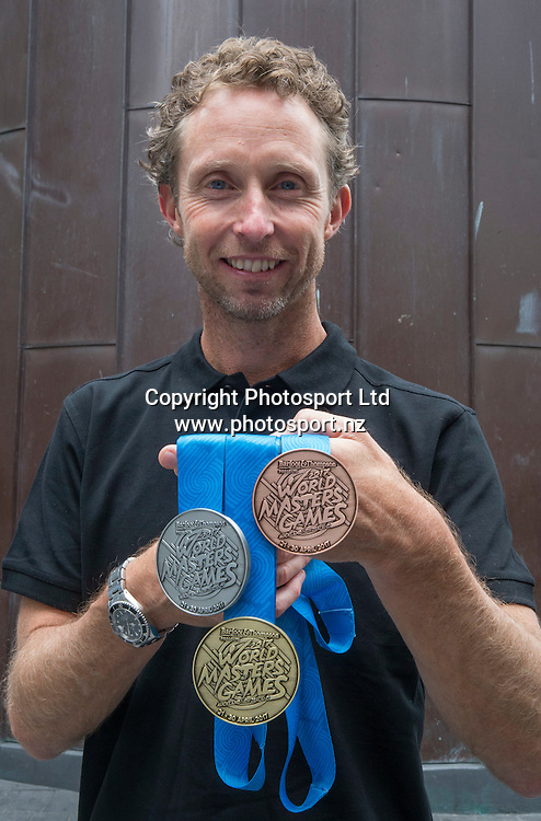 WMG ambassador and former Olympic gold medalist, Hamish Carter, with the 2017 medal set  at a press conference Held at Sky City in Auckland to update progress  and unveil the medals for the World Masters Games 2017 to be held in Auckland. <br /> <br /> Credit; Peter Meecham/ www.photosport.nz