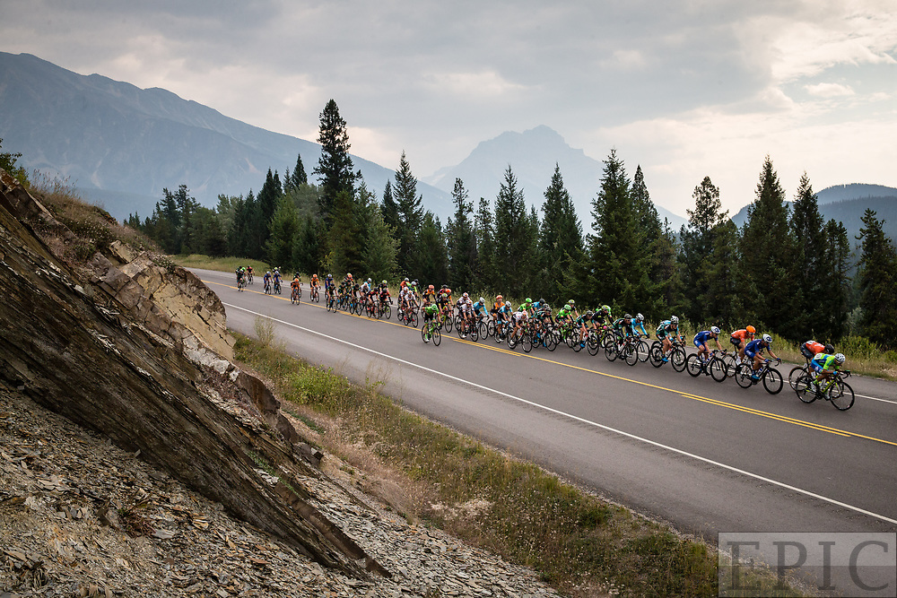 JASPER, ALBERTA, CAN - September 1: The peloton rides among the mountains in Jasper National Park during stage 1 of the Tour of Alberta on September 1, 2017 in Jasper, Canada. (Photo by Jonathan Devich)