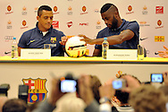 (L) Alexis Alejandro Sanchez and (R) Alex Song both from Barcelona while press conference in The Polish Baltic Frederic Chopin Philharmonic in Gdansk, Poland.<br /> A few hours before friendly match between Lechia Gdansk and FC Barcelona.<br /> <br /> Poland, Gdansk, July 30, 2013<br /> <br /> Picture also available in RAW (NEF) or TIFF format on special request.<br /> <br /> For editorial use only. Any commercial or promotional use requires permission.<br /> <br /> Photo by © Adam Nurkiewicz / Mediasport