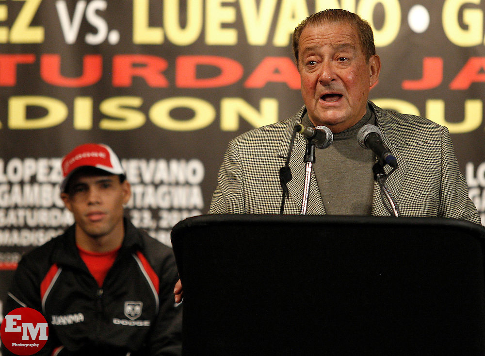 Jan 21, 2010; New York, NY; USA; Promoter Bob Arum speaks at the press conference for the upcoming fight between WBO Champion Steven Luevano and challenger Juan Manuel Lopez.  The two will meet on Saturday at the Theater at Madison Square Garden.