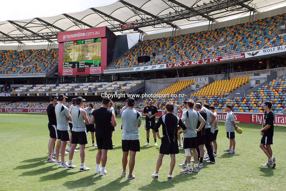 New Zealand players gather for a team talk at the Gabba ahead of the first test between Australia and New Zealand starting tomorrow at the Gabba. Brisbane, Australia. Thursday 19 November 2008. Pic: Andrew Cornaga/PHOTOSPORT