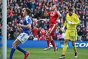 Middlesbrough forward Jordan Rhodes (9)  misses during the Sky Bet Championship match between Middlesbrough and Ipswich Town at the Riverside Stadium, Middlesbrough, England on 23 April 2016. Photo by Simon Davies.