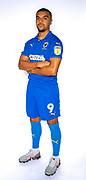 AFC Wimbledon striker Kweshi Appiah (9) during the official team photocall for AFC Wimbledon at the Cherry Red Records Stadium, Kingston, England on 8 August 2019.