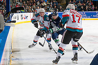 KELOWNA, CANADA - FEBRUARY 13: Alexander True #16 of the Seattle Thunderbirds checks Lucas Johansen #7 of the Kelowna Rockets during second period on February 13, 2017 at Prospera Place in Kelowna, British Columbia, Canada.  (Photo by Marissa Baecker/Shoot the Breeze)  *** Local Caption ***