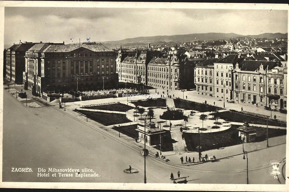 Zagreb : Dio Mihanovićeve ulice. Hotel et Terase Esplanade. <br /> <br /> ImpresumZagreb : Foto i Naklada S. M., 1929.<br /> Materijalni opis1 razglednica : tisak ; 9 x 14,1 cm.<br /> Mjesto izdavanjaZagreb<br /> Vrstavizualna građa • razglednice<br /> ZbirkaZbirka razglednica • Grafička zbirka NSK<br /> Formatimage/jpeg<br /> PredmetZagreb –– Trg Ante Starčevića<br /> Hotel Esplanade (Zagreb)<br /> SignaturaRZG-STAR-8<br /> Obuhvat(vremenski)20. stoljeće<br /> NapomenaRazglednica je putovala. • S. M. Zagreb vjerojatno S. Marković Zagreb.<br /> PravaJavno dobro<br /> Identifikatori000953277<br /> NBN.HRNBN: urn:nbn:hr:238:462609 <br /> <br /> Izvor: Digitalne zbirke Nacionalne i sveučilišne knjižnice u Zagrebu