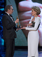 04.03.2018; Hollywood, USA: OSCAR TELECAST<br /> for the 90th Annual Academy Awards at the Dolby&reg; Theatre in Hollywood.<br /> Mandatory Photo Credit: AMPAS/Newspix International<br /> <br /> IMMEDIATE CONFIRMATION OF USAGE REQUIRED:<br /> Newspix International, 31 Chinnery Hill, Bishop's Stortford, ENGLAND CM23 3PS<br /> Tel:+441279 324672  ; Fax: +441279656877<br /> Mobile:  07775681153<br /> e-mail: info@newspixinternational.co.uk<br /> Usage Implies Acceptance of Our Terms &amp; Conditions<br /> Please refer to usage terms. All Fees Payable To Newspix International<br /> Jane Fonda presents Gary Oldman with the oscar for best actor in a leading role.