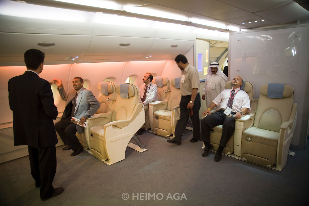 Dubai 2005, 9th International Aerospace Exhibition..First appearance of the new Airbus A380 in the Middle East and in the livery of its biggest buyer Emirates Airlines (45 planes ordered to date)..A380 upper business class cabin mockup at Airbus booth.