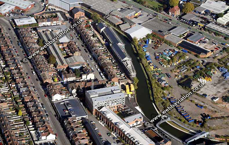 aerial photograph of the Coventry Canal in Coventry  West Midlands England  UK