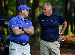 Pittsburgh head football coach Pat Narduzzi talks with Uconn head football coach Randy Edsall during the Chick-fil-A Peach Bowl Challenge at the Ritz Carlton Reynolds, Lake Oconee, on Tuesday, April 30, 2019, in Greensboro, GA. (Paul Abell via Abell Images for Chick-fil-A Peach Bowl Challenge)