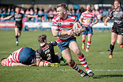 Richard Lepori (Oldham Roughyeds) gathers the ball and turns to run at the Bradford Bulls during the Kingstone Press Championship match between Oldham Roughyeds and Bradford Bulls at Bower Fold, Oldham, United Kingdom on 2 April 2017. Photo by Mark P Doherty.