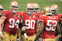 3 February 2013: (94) Justin Smith, (90) Isaac Sopoaga, and (52) Patrick Willis of the San Francisco 49ers huddle up the defense against the Baltimore Ravens during the second half of the Ravens 34-31 victory over the 49ers in Superbowl XLVII at the Mercedes-Benz Superdome in New Orleans, LA.