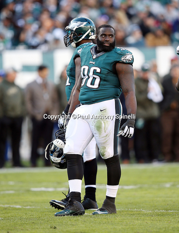 Philadelphia Eagles nose tackle Bennie Logan (96) looks on during a break in the action during the 2015 week 10 regular season NFL football game against the Miami Dolphins on Sunday, Nov. 15, 2015 in Philadelphia. The Dolphins won the game 20-19. (©Paul Anthony Spinelli)
