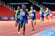Ronald Musagala (UGA) leads the field home to win the men's 1500m in a time of 3.35.12 during the Birmingham Grand Prix, Sunday, Aug 18, 2019, in Birmingham, United Kingdom. (Steve Flynn/Image of Sport via AP)