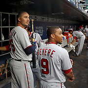 NEW YORK, NEW YORK - July 07: Clint Robinson #25 of the Washington Nationals and Ben Revere #9 of the Washington Nationals in the dugout preparing to bat during the Washington Nationals Vs New York Mets regular season MLB game at Citi Field on July 07, 2016 in New York City. (Photo by Tim Clayton/Corbis via Getty Images)