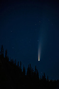Comet C/2020 F3 (NEOWISE) shines bright over a forested ridge in Mount Rainier National Park, Washington. Comet NEOWISE is a long-period comet and its current orbital path will take about 6,800 years to complete. Its nucleus is about 3 miles (5 kilometers) across and is covered with sooty, dark particles left over from its formation near the birth of our solar system 4.6 billion years ago.
