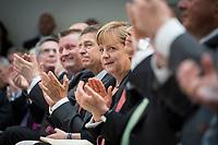"""17 JUL 2014, BERLIN/GERMANY:<br /> Applaus für Angela Merkel an ihrem 60. Geburtstag: Hermann Groehe, CDU, Bundesgesundheitsminister, Joachim Sauer, Ehemann von Angela Merkel, Angela Merkel, CDU, Bundeskanzlerin, Prof. Dr. Juergen Osterhammel (verdeckt), Professor fuer Neuere und Neuste Geschichte an der Universität Konstanz, (v.L.n.R.), waehrend dem """"Berliner Gespraech spezial"""" der CDU, anlaesslich des 60. Geburtstags von Angela Merkel, Konrad-Adenauer-Haus<br /> IMAGE: 20140717-01-014<br /> KEYWORDS: Harmann Gröhe, Jürgen Osterhammel,"""