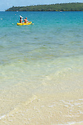 guests paddling a kayak in Hunga Lagoon, off Ika Lahi Lodge, Hunga Island, Vava'u, Kingdom of Tonga, South Pacific