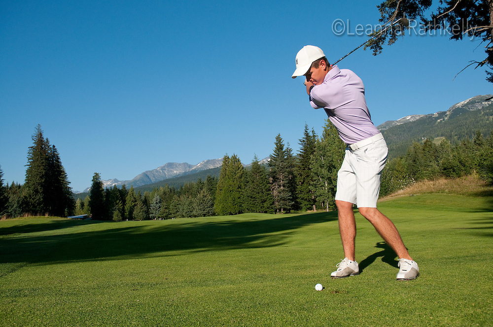 Brett Kelly, 19, golfs at the Whistler Golf Course in Whistler, BC Canada
