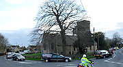© Licensed to London News Pictures. 20/03/2012. Brize Norton, UK. The courtege passes St Britus church built in 1082 in the village of Brize Norton. The repatriation of six soldiers killed in Afghanistan takes place today 20th March 2012. Sergeant Nigel Coupe, 33, of 1st Battalion The Duke of Lancaster's Regiment, Corporal Jake Hartley, 20, Private Anthony Frampton, 20, Private Christopher Kershaw, 19, Private Daniel Wade, 20, and Private Daniel Wilford, 21, all of 3rd Battalion, the Yorkshire Regiment, were killed in Afghanistan on March 6. Photo credit : Stephen SImpson/LNP