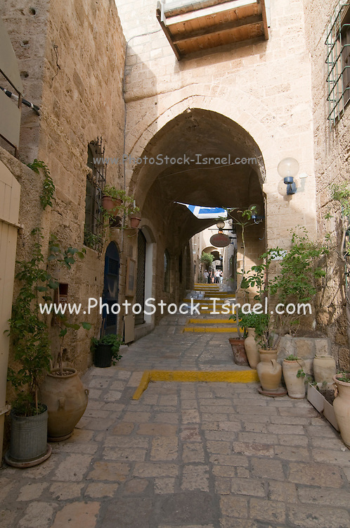 Israel, renovated old city of Jaffa now an artist's colony A narrow alley