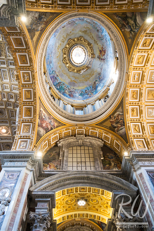 Looking Up at Domed Ceiling in St. Peter's Basilica, Rome, Italy