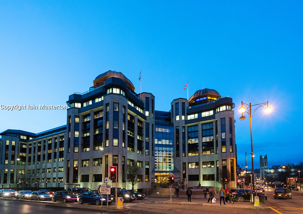 Exterior evening view of Standard Life office building in financial district in Edinburgh West End, Scotland, United Kingdom