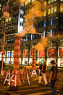 New York Manhattan  - steam pipe on 61 street  New York,   - United states /   evacuation du chauffage urbain sur la 61 em rue   , New York - Etats unis