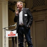 Talk of the Town 2015. Program/Auction/Raise the Paddle in Great Hall. Rick Steves (featured guest).