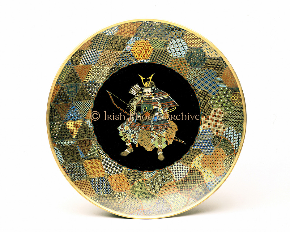 Japanese plate. Seated warrior in full armour holding bow and fan, quiver of arrows on his back. Cloisonne enamel on copper 1850-1875.