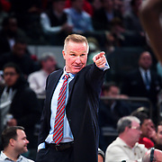 January 9, 2018, New York, NY : St. John's head coach Chris Mullin signals to his players from the sidelines during Tuesday night's matchup between the Hoyas and Red Storm at the Garden. In something of a rematch of their 1985 contest, Basketball greats Patrick Ewing and Chris Mullin returned to Madison Square Garden on Tuesday night to face off as coaches with their respective Georgetown and St. John's teams.  CREDIT: Karsten Moran for The New York Times