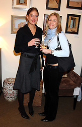 Left to right,EDWINA KINSELLA-BEVAN and DAVINA STRONG at a private view of paintings by Sophie Gilbart-Denham held at OKA, The Coachworks, 80 Parsons Green Lane, London SW6 on 6th November 2005.<br /><br />NON EXCLUSIVE - WORLD RIGHTS