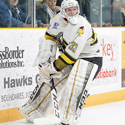 "TRENTON, ON  - MAY 2,  2017: Canadian Junior Hockey League, Central Canadian Jr. ""A"" Championship. The Dudley Hewitt Cup. Game 2 between Powassan Voodoos and Trenton Golden Hawks.  Nate McDonald #33 of the Powassan Voodoos plays the puck behind the net during the first period <br /> (Photo by Amy Deroche / OJHL Images)"