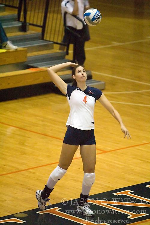 Virginia Cavaliers OH Lauren Dickson (4)..The Virginia Cavaliers Volleyball team faced the Florida State Seminoles at Memorial Gymnasium in Charlottesville, VA on September 20, 2007.