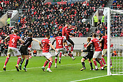 Goal - Pierre-Michel Lasogga (9) of Leeds United scores a goal to give a 0-3 lead to the away team during the EFL Sky Bet Championship match between Bristol City and Leeds United at Ashton Gate, Bristol, England on 21 October 2017. Photo by Graham Hunt.