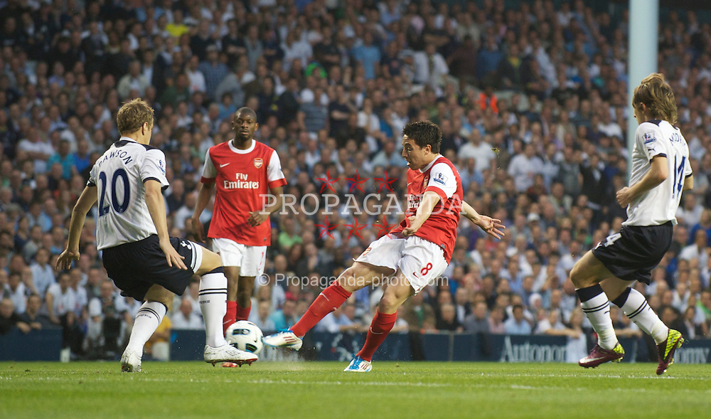 LONDON, ENGLAND - Wednesday, April 20, 2011: Arsenal's Samir Nasri scores the second goal against Tottenham Hotspur during the Premiership match at White Hart Lane. (Photo by David Rawcliffe/Propaganda)