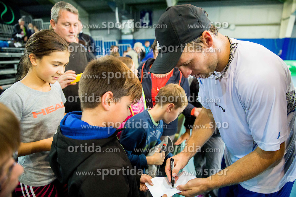Grega Zemlja of Slovenia with fans during Davis Cup Slovenia vs Lithuania competition, on October 30, 2015 in Kranj, Slovenia. Photo by Vid Ponikvar / Sportida