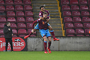 Scunthorpe United forward Kevin van Veen (10) celebrates scoring goal with Scunthorpe United midfielder Duane Holmes (19) to go 1-1 during the EFL Sky Bet League 1 match between Scunthorpe United and Southend United at Glanford Park, Scunthorpe, England on 23 December 2017. Photo by Ian Lyall.