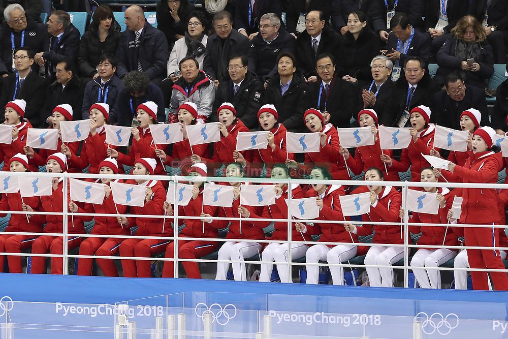 February 10, 2018 - Gangneung, GANGWON, SOUTH KOREA - Feb 10, 2018-Gangneung, South Korea-North Korean Cheer group members action during the 2018 pyeongchang Winter Olympic Korea v Swiss Women Ice Hockey at Gwandong Hockey Center in Gangwon, South Korea. (Credit Image: © Gmc via ZUMA Wire)