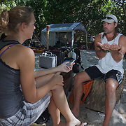 Ron Leidich explaining the geology and natural history of Palau's Rock Islands to Terry Ward. During this trip to explore the Rock Islands by kayak, Ron made a point of starting each day with an explanation of our schedule, the sites we would be visiting, and the unique biological, geological and historical aspects of what we would be seeing.