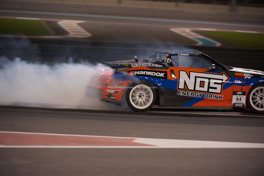 25 feb, formula drift champion ship, yas marina circuit, abu dhabi, chris forsberg is driving his nos energy drink nizzan 350Z
