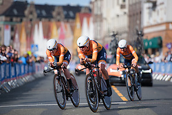 Chantal Blaak and her Boels Dolmans teammates with less than 1 km to go at UCI Road World Championships Women's Team Time Trial 2017 a 42.5 km team time trial in Bergen, Norway on September 17, 2017. (Photo by Sean Robinson/Velofocus)