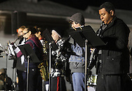 Pine Bush, New York  - Members of the Crispell Middle School band perform on stage during the Community Country Christmas 2011 celebration along Main Street on Dec. 3, 2011.