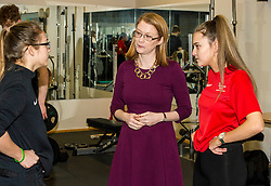 Pictured: Shirley-Anne Somerville met Katie Frew (18 ) and Aimee Dilworth (17) on her tour<br /> <br /> Further and Higher Education Minister Shirley-Anne Somerville visited Edinburgh College's Granton campus to view the sport facilities and to announce a new GBP465,000 investment fund for the student sport sector.<br /> <br /> Ger Harley | EEm 8 February 2018