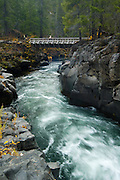 A child stands on a footbridge crossing the Rogue River, Rogue River National Forest, Oregon