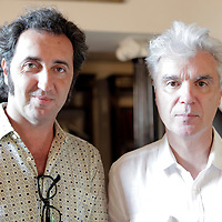 "Paolo Sorrentino, director of film ""This Must Be The Place"", and David Byrne in Capri for ""Le Conversazioni"" (The Conversations) Capri, Italy. 3 July 2010<br /> <br /> copyright Steve Bisgrove/Writer Pictures<br /> contact +44 (0)20 822 41564<br /> info@writerpictures.com<br /> www.writerpictures.com"