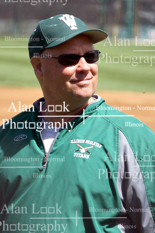 14 April 2013:  Titan Head Coach Dennis Martel during an NCAA division 3 College Conference of Illinois and Wisconsin (CCIW) Baseball game between the Elmhurst Bluejays and the Illinois Wesleyan Titans in Jack Horenberger Stadium, Bloomington IL