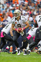 06 October 2013: Quarterback (9) Drew Brees of the New Orleans Saints drops back to pass against the Chicago Bears during the second half of the Saints 26-18 victory over the Bears in an NFL Game at Soldier Field in Chicago, IL.