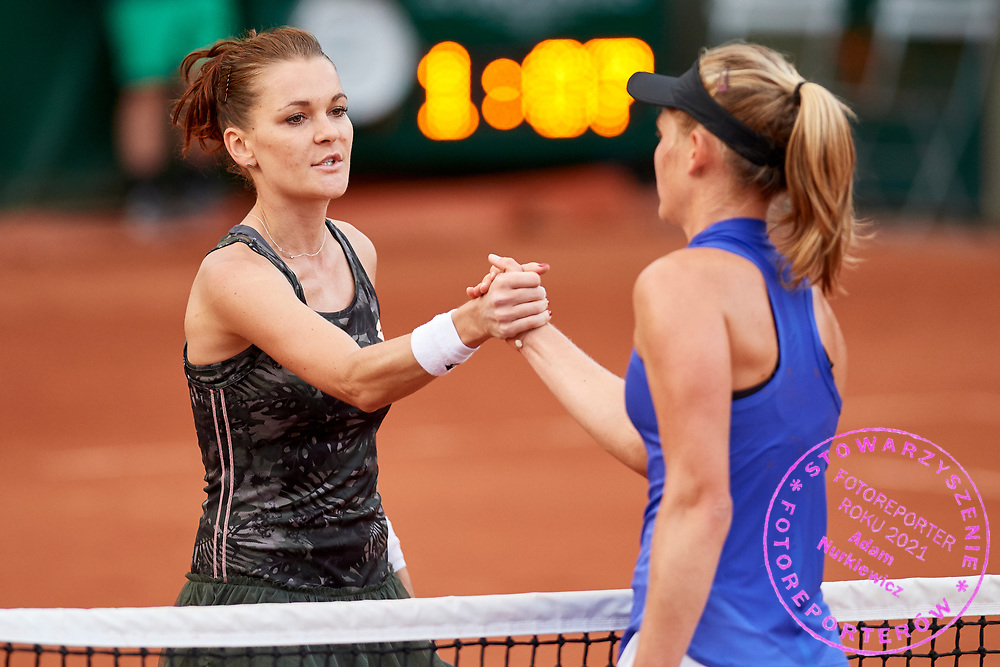Paris, France - 2017 May 30: (L) Agnieszka Radwanska from Poland thanks for the game to (R) Fiona Ferro from France after their women's single match first round during tennis Grand Slam tournament The French Open 2017 (also called Roland Garros) at Stade Roland Garros on May 30, 2017 in Paris, France.<br /> <br /> Mandatory credit:<br /> Photo by &copy; Adam Nurkiewicz<br /> <br /> Adam Nurkiewicz declares that he has no rights to the image of people at the photographs of his authorship.<br /> <br /> Picture also available in RAW (NEF) or TIFF format on special request.<br /> <br /> Any editorial, commercial or promotional use requires written permission from the author of image.