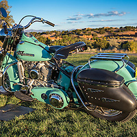 1955 Harley Davidson Hydra-Glide, in the early morning light, pre-show, at the 2012 Santa Fe Concorso.