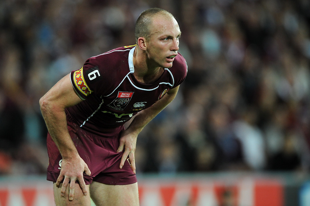 May 25th 2011: Darren Lockyer watches on during game 1 of the 2011 State of Origin series at Suncorp Stadium in Brisbane, Australia on May 25, 2011. Photo by Matt Roberts/mattrIMAGES.com.au / QRL